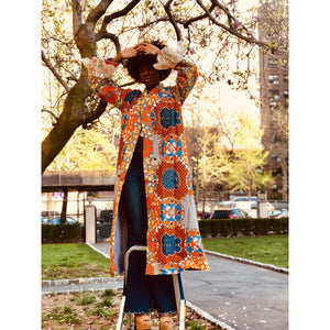 Multi Color (Orange + Blue + White) African Wax Print Caftan with Lace Detail - JUNNY.NYC