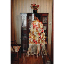 Silk Charmeuse Caftan with Fringe Detail - JUNNY.NYC