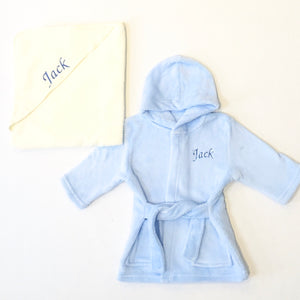 Personalised Blue Robe and Towel Gift Set
