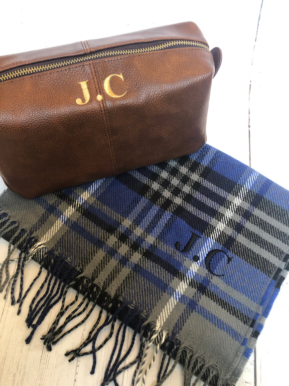 Gift Set for Him  - Personalised Washbag & Scarf