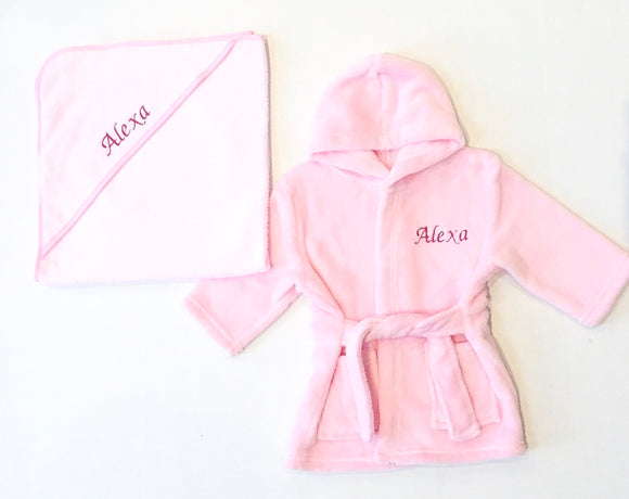 Personalised Pink Robe and Towel Gift Set