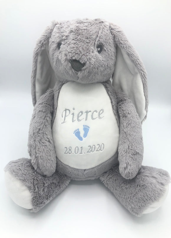 Personalised Grey Soft Bunny Rabbit
