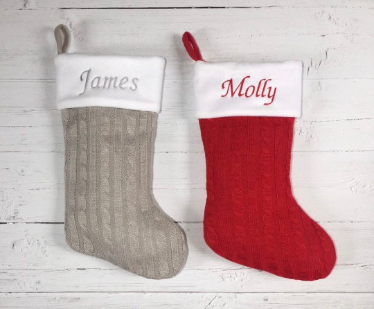 Luxurious Personalised Christmas Stocking (Red or Grey)