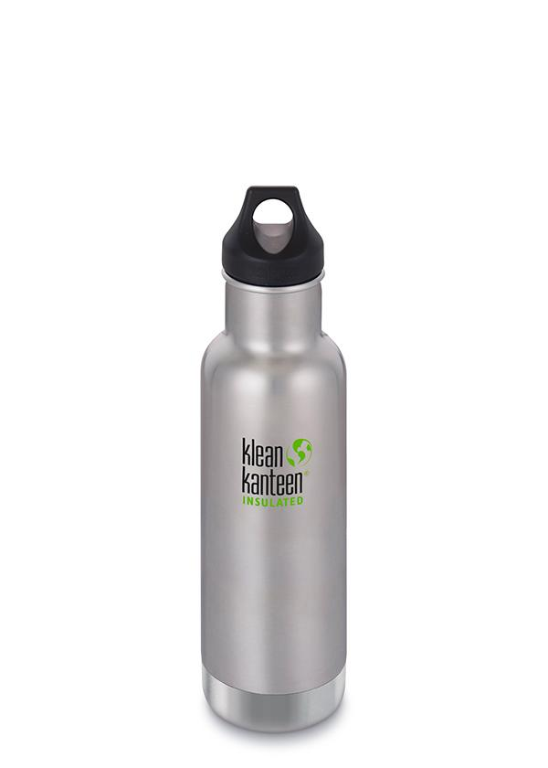 Klean Kanteen Classic Insulated Water Bottle in 20oz Brushed Stainless Steel Color