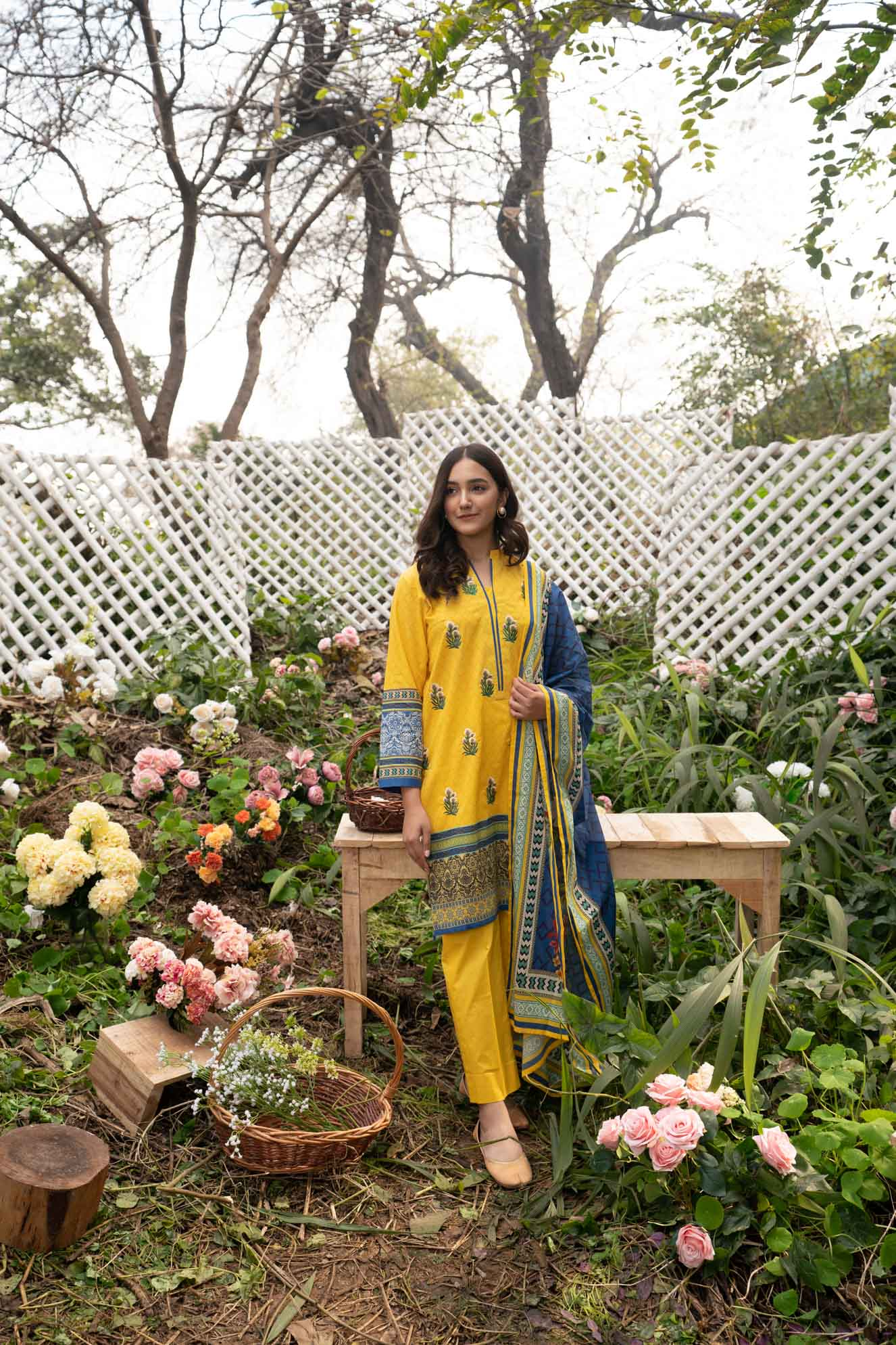 yellow embroidered lawn shirt with printed dupatta