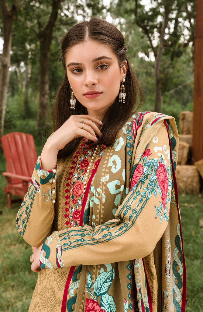 Unstitched 2 Piece Embroidered cottel Suit
