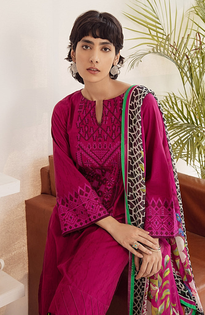 Unstitched 2PC Embroidered Jacquard Shirt and Chiffon Dupatta