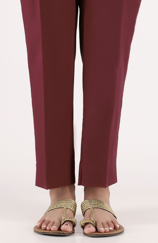 Stitched Basic Cambric Pants- Maroon