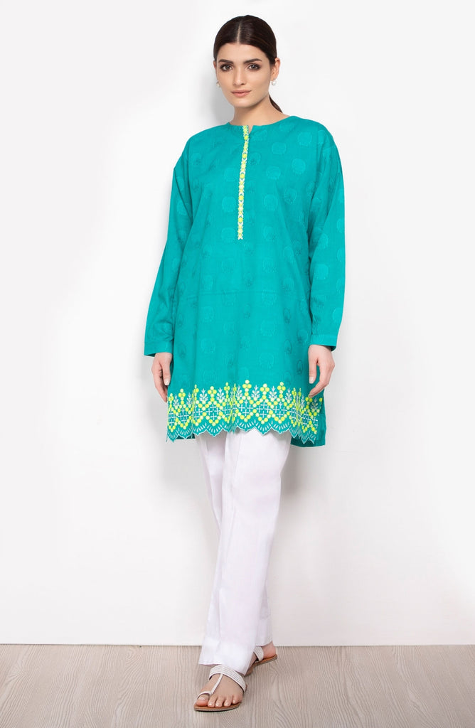 Unstitched 1 Piece Embroidered Jacquard Shirt