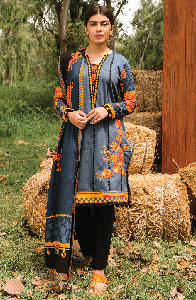 Blue Unstitched Cottel Shirt and Dupatta