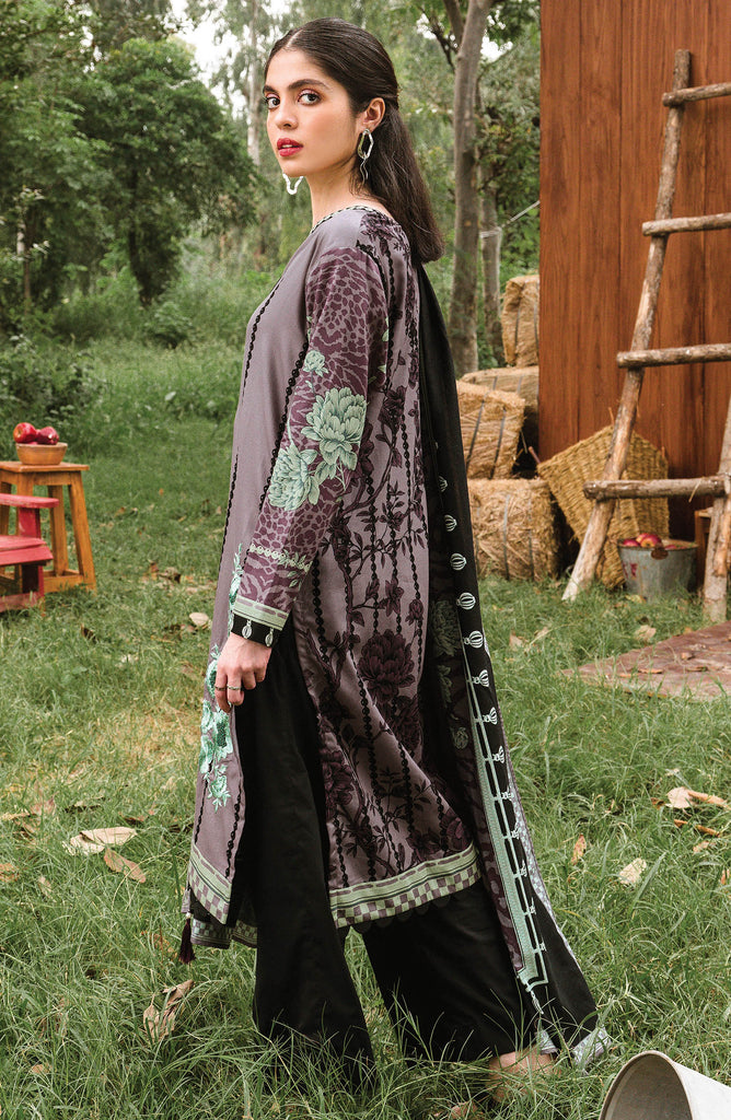 Grey Unstitched Cottel Shirt and Dupatta