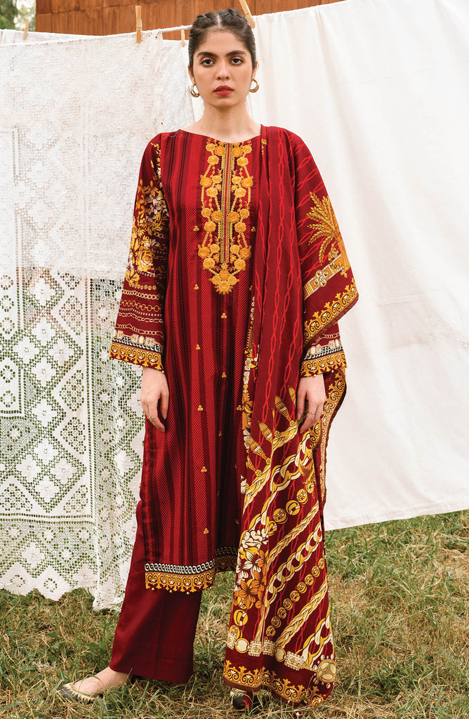 Red Unstitched Cottel Shirt Dupatta and Pants