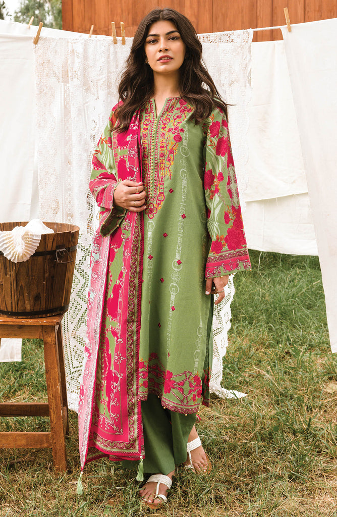 Green Unstitched Cottel Shirt Dupatta and Pants