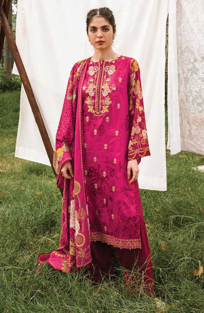 Pink Unstitched Cottel Shirt Dupatta and Pants