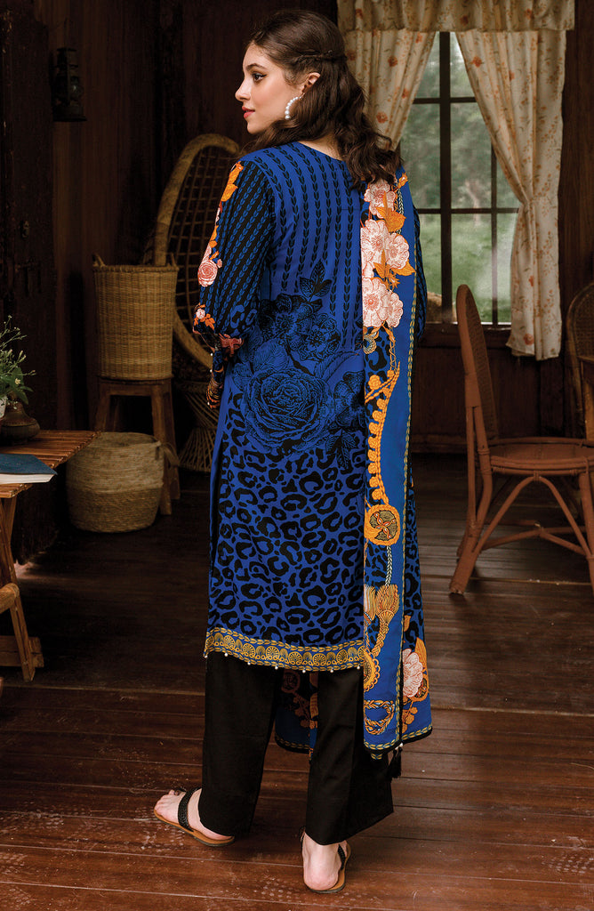 Blue Unstitched Cottel Shirt Dupatta and Pants