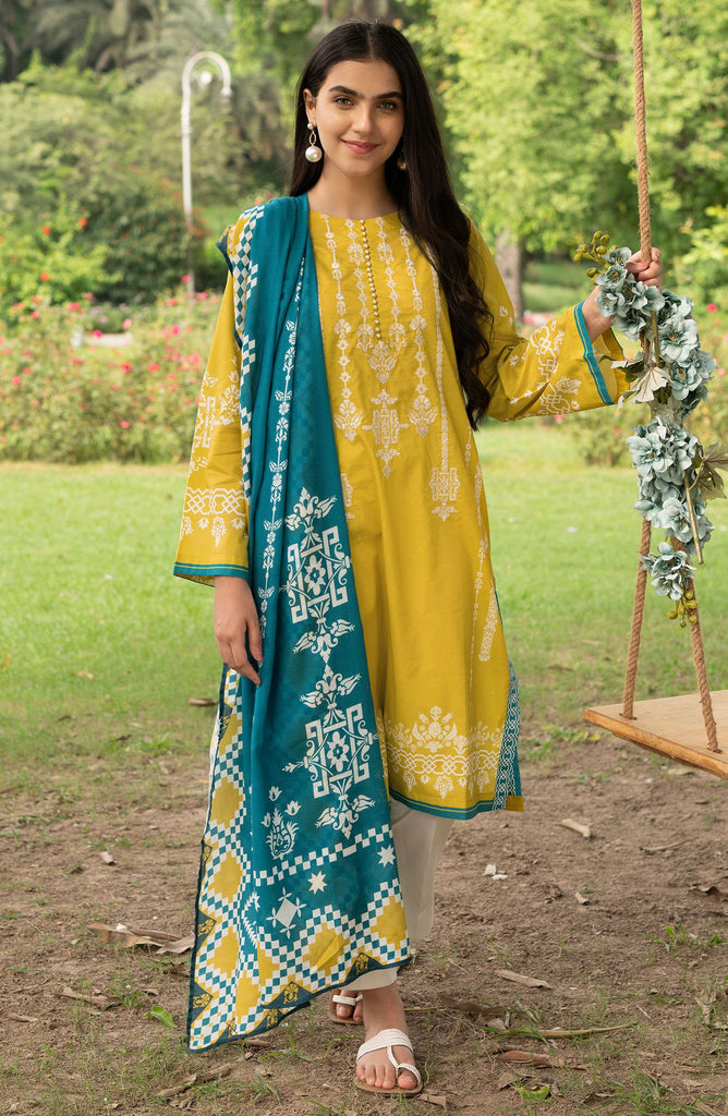 Unstitched 2PC Embroidered Cotton Shirt and Dupatta