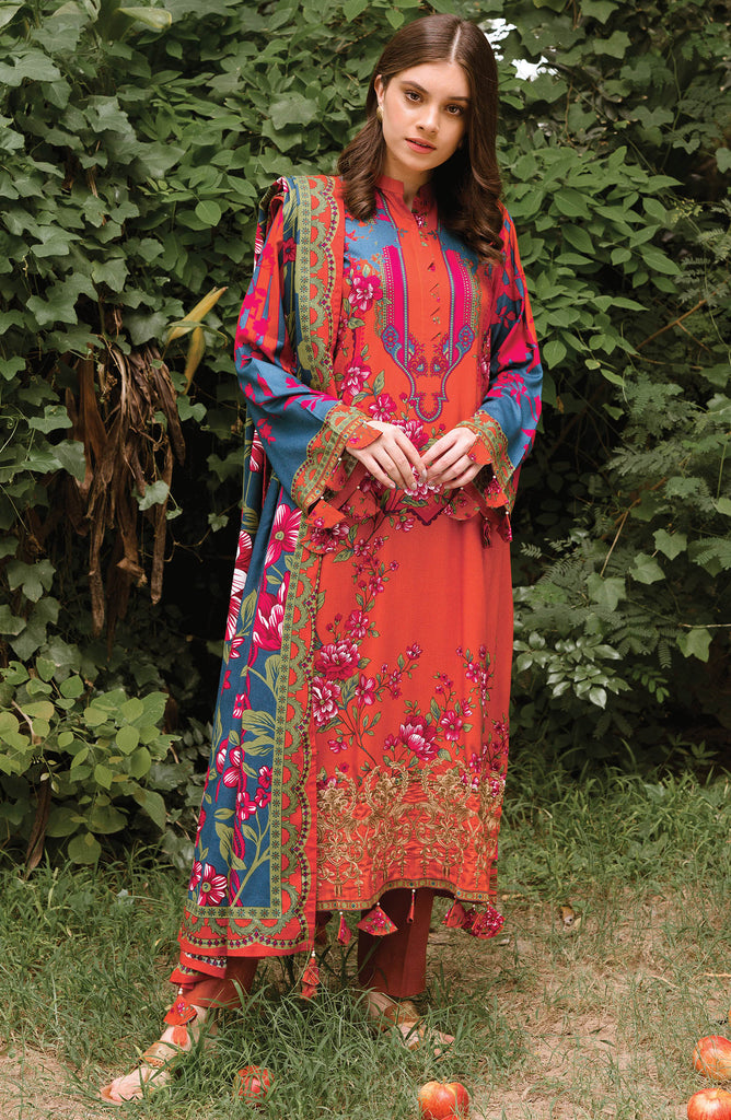 Unstitched 3PC Embroidered Linen Suit