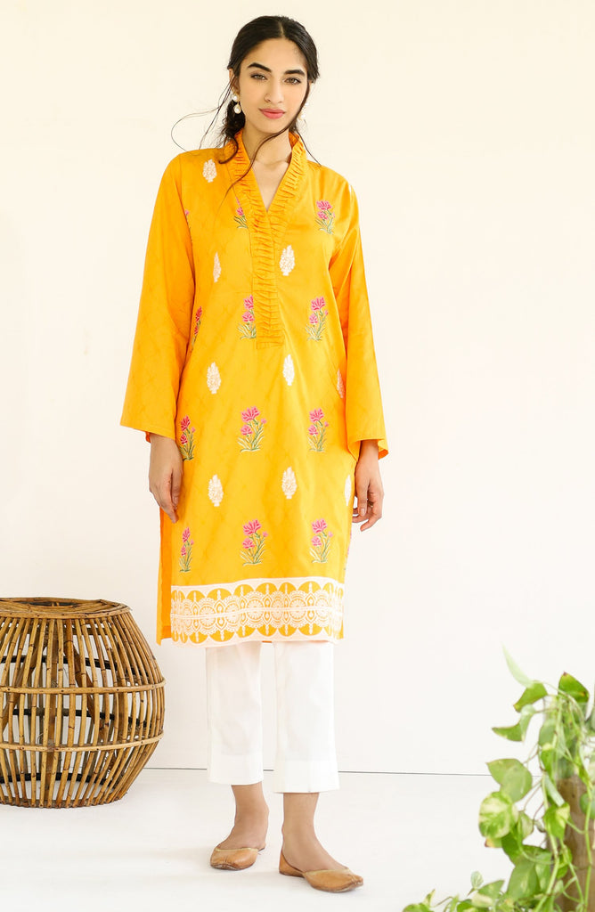 Stitched 1 Piece Embroidered Jacquard Shirt