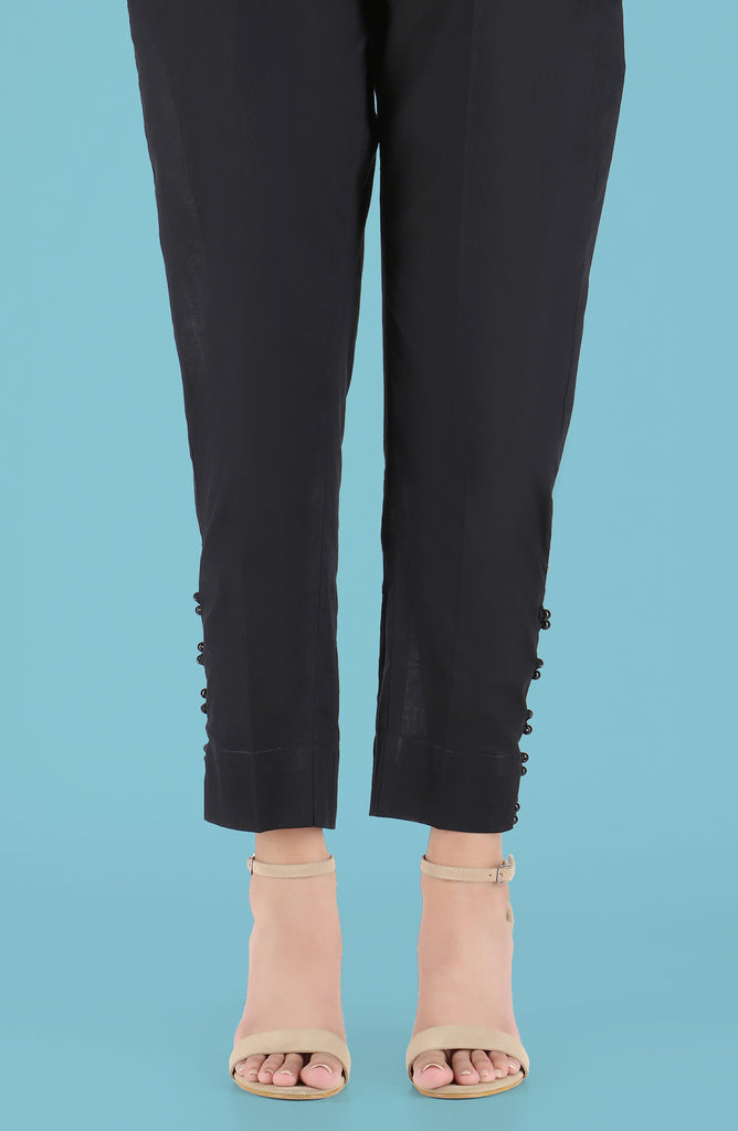 Stitched Embellished Straight Pants- Black