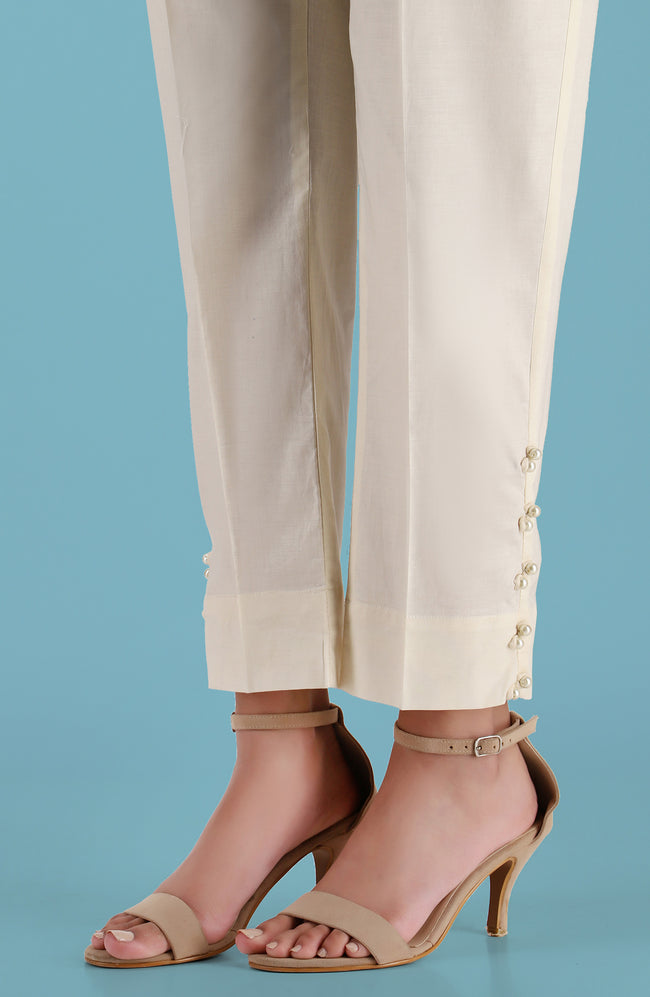 Stitched Embellished Straight Pants- Creme