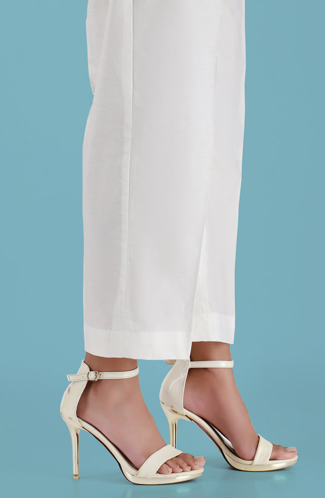 Stitched Wide Legged Pants- White