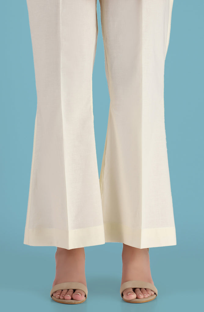 Stitched Basic Flaired Pants- Creme