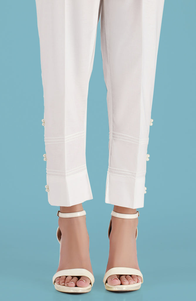 Stitched Embellished Straight Pants- White