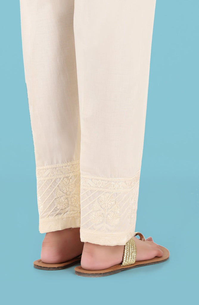 Stitched Embroidered Straight Pants- Creme