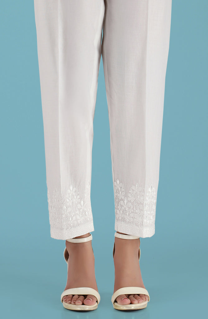 Stitched Embroidered Straight Pants- White