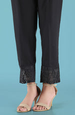 Stitched Embroidered Straight Pants- Black