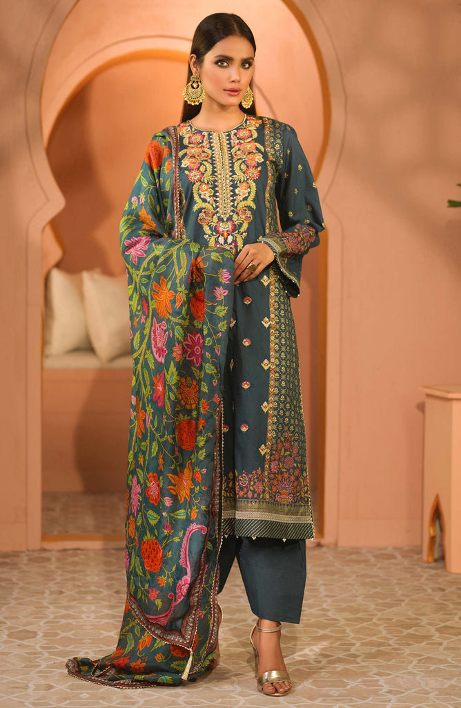 Unstitched 3PC Festive Embroidered Suit
