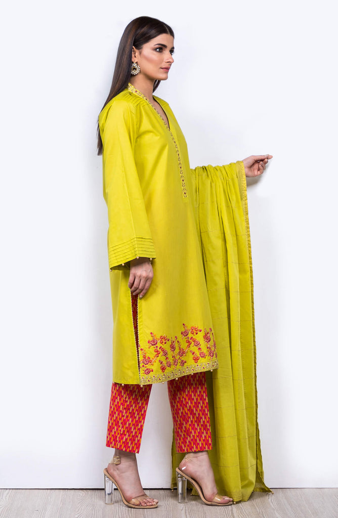Unstitched 3 Piece Embroidered Lawn Suit
