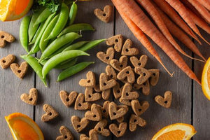 These grain-free roasted duck dog treats are made in the USA with real duck, carrots, oranges, and other healthy ingredients you would find in your own kitchen.