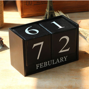 Ezone Vintage Wooden Table Desk Calendar Wood Block Planner