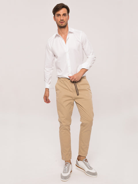 Pantaloni Casual Leisure Fit Crem BMan454 (4)