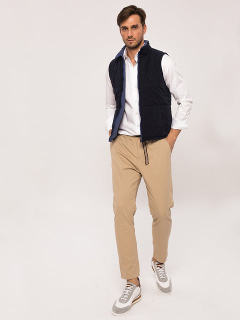 Pantaloni Casual Leisure Fit Crem BMan454 (6)
