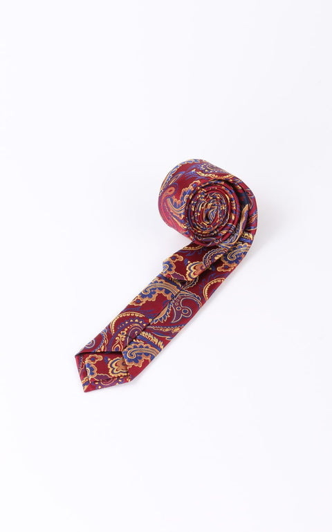 Cravata Bordo cu Model Paisley Bman303 (3)