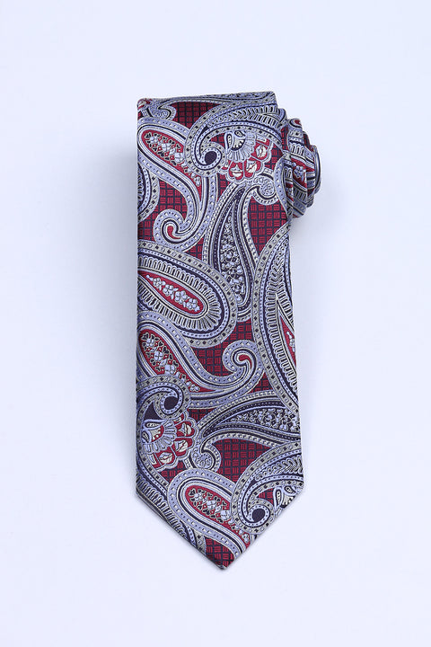 Cravata Bordo cu Model Paisley Bman622 (3)