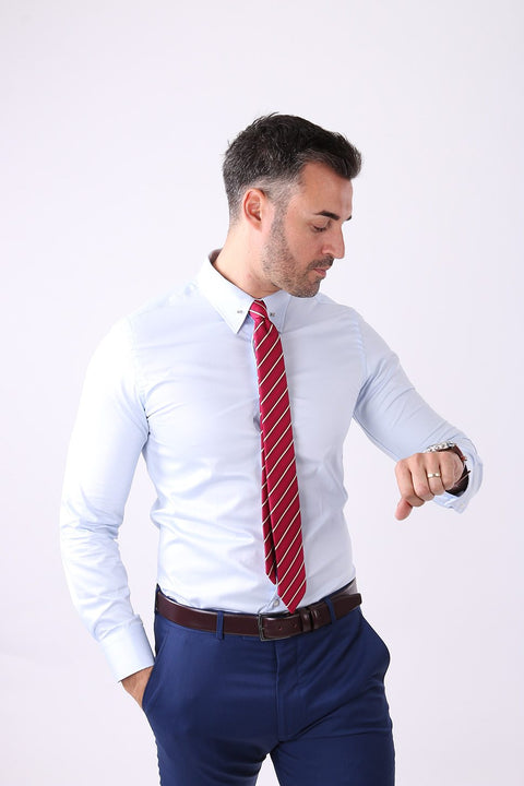 Camasa Slim Fit Bleu cu Ac Pin - Bman503 (5)