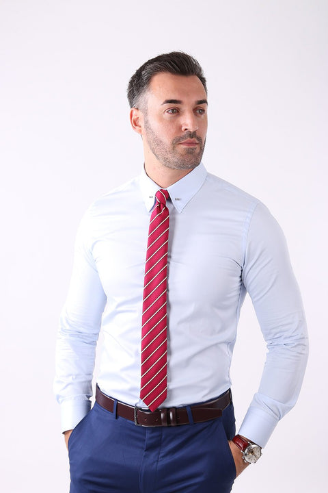 Camasa Slim Fit Bleu cu Ac Pin - Bman503 (6)