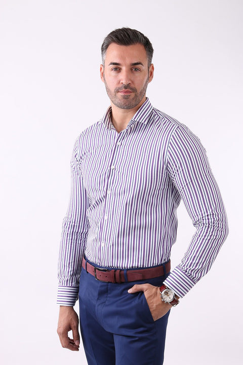 Camasa Slim Fit Mov cu Dungi - Bman509 (8)