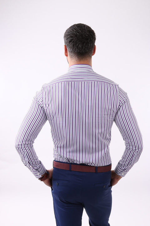 Camasa Slim Fit Mov cu Dungi - Bman509 (12)