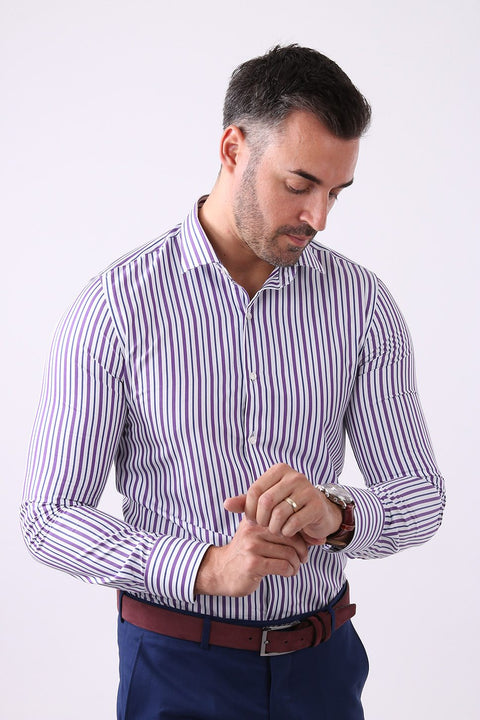 Camasa Slim Fit Mov cu Dungi - Bman509 (6)