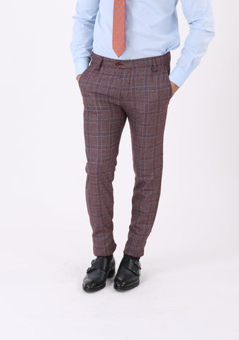 Pantaloni Office Bordo cu Carouri - BMan173