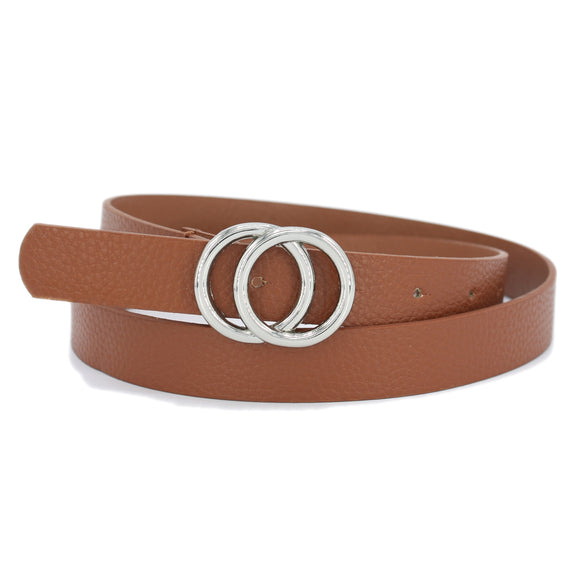 Double Circle Thin Belt Tan