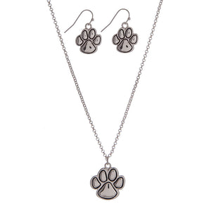 Paw Print Necklace Earring Set