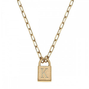 Initial Lock Pendant Necklace | Gold