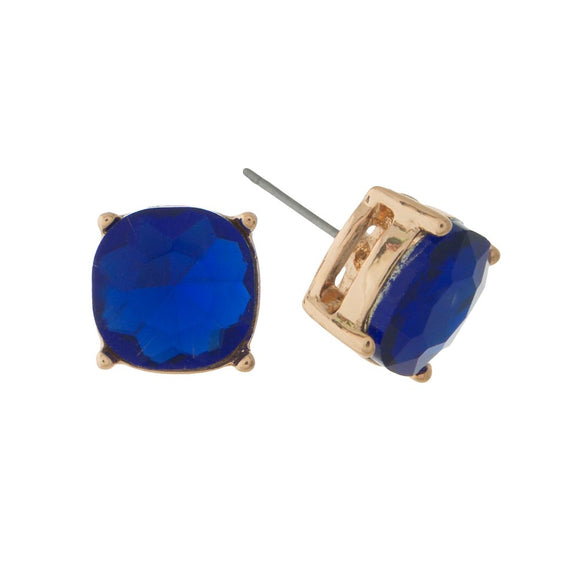 Blue Stone Stud Earrings