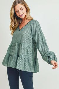 Leva Olive Striped Top