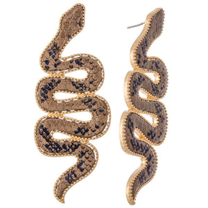 Snake Earrings | Brown